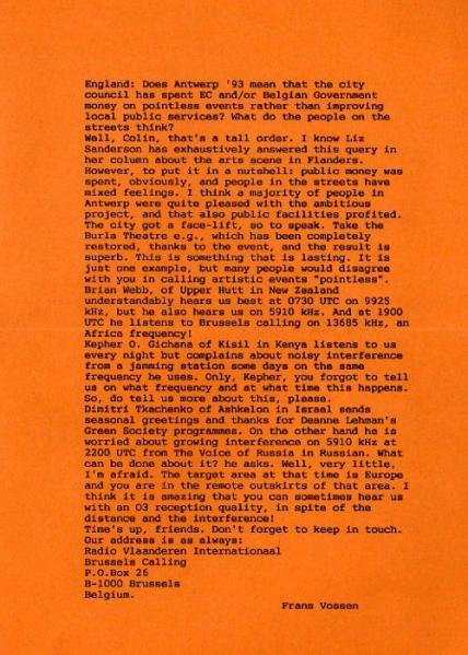 P.O.BOX 26 January Tuesday 11, 1994