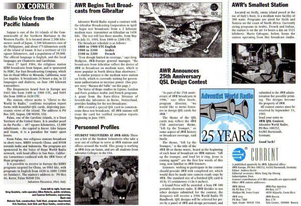 AWR CURRENT Volume XII Number 2 June 1995 DX CORNER