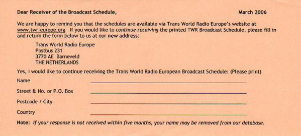2006年3月 Trans World Radio Europe スケジュール表継続購読申し込み用紙