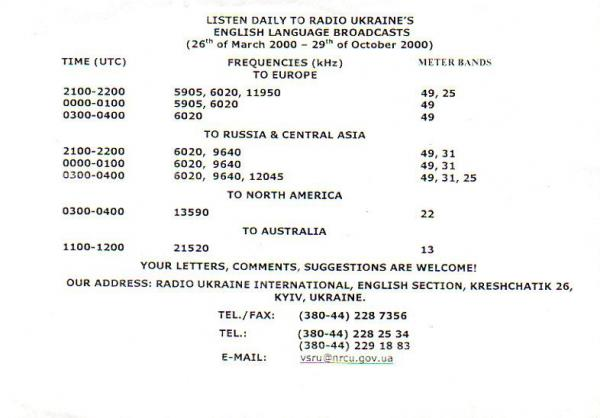 2000年夏季(A00) ラジオ・ウクライナ・インターナショナル