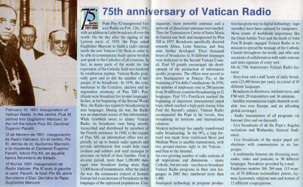 バチカン放送スケジュール表 75th anniversary of Vatican Radio