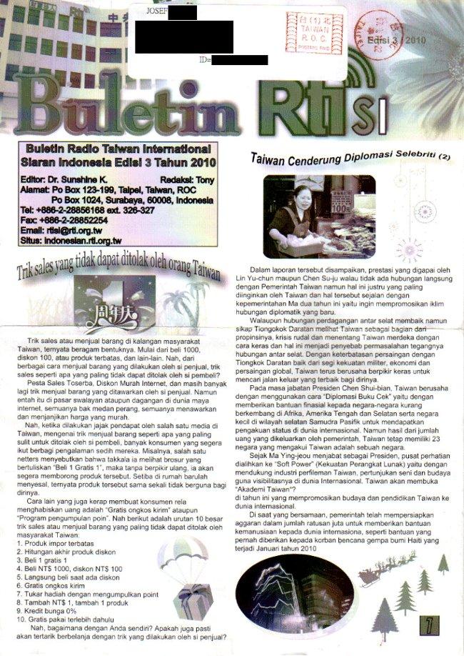 Buletin RTI SI Siaran Indonesia Edisi 3 / 2010