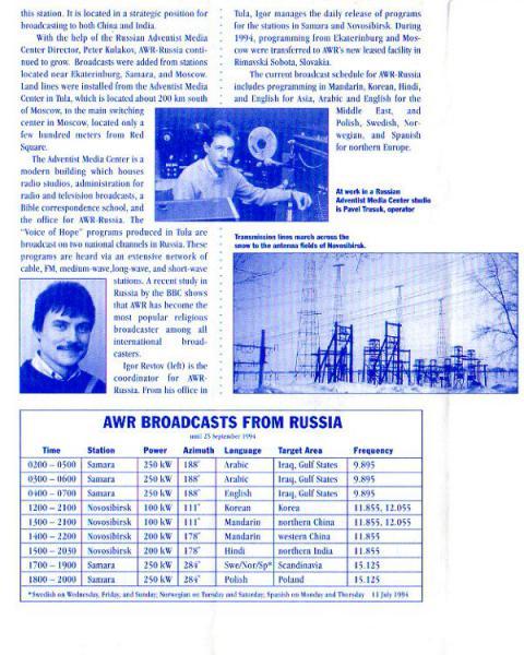 CURRENT THE ADVENTIST WORLD RADIO LISTENER NEWSLETTER September 1994