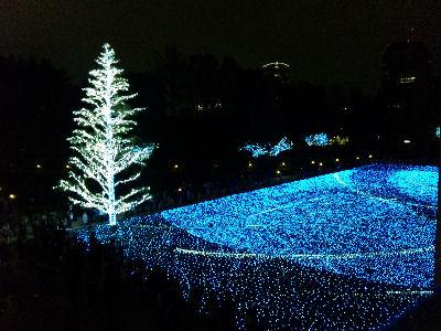 東京ミッドタウンの横にあるきれいなイルミネーション