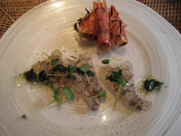 車海老の刺身 有頭あぶり 糸青海苔のソースで