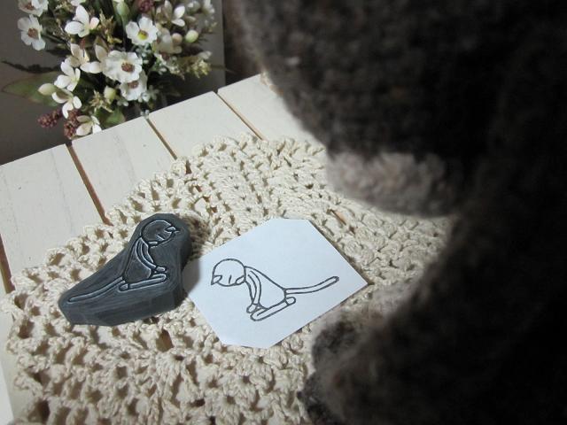 見つめる編みねこJr.2