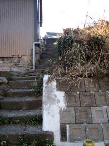 水分橋 家の横急階段