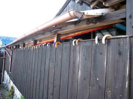 日間賀島 南川 傘と塀