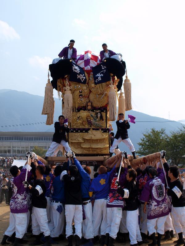 土居秋祭り 関川河川敷 藤原太鼓台