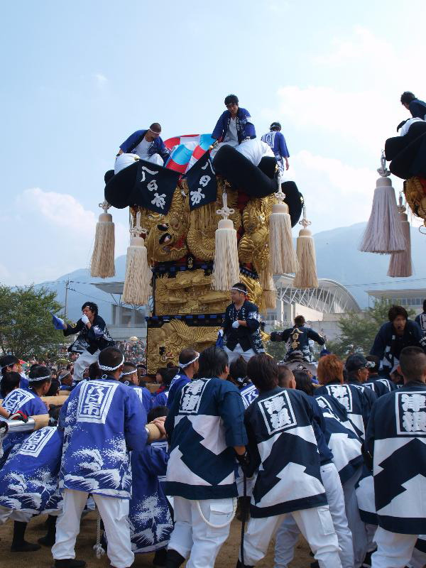 土居秋祭り 関川河川敷 八日市太鼓台