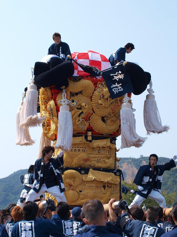 土居秋祭り 関川河川敷 津根太鼓台