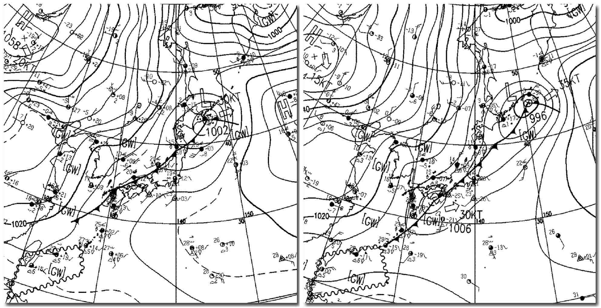 20091101 9時、15時の天気図