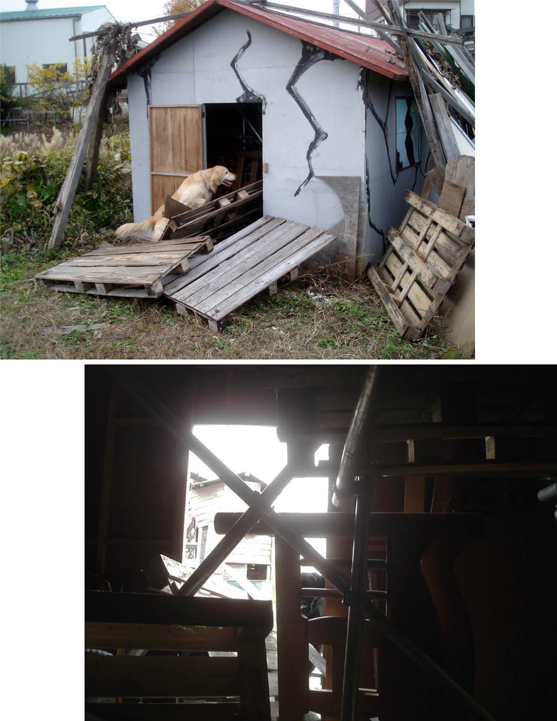 ⑦小屋の中に