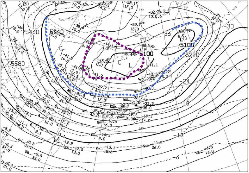 2009年12月17日9時の500hP天気図