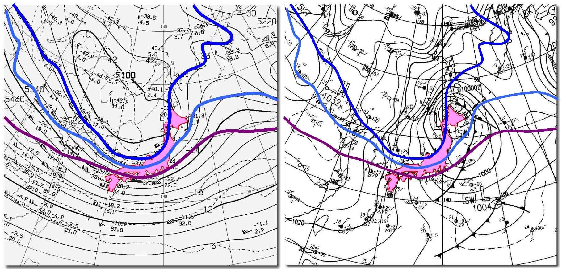 2009年12月31日09時の天気図(上空の気温)