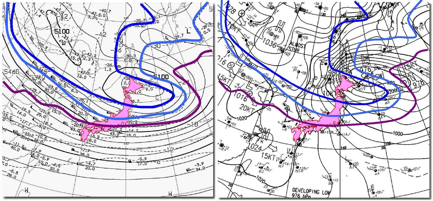2010年01月01日09時の天気図(上空の気温)