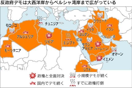 アラブ民主化運動地図