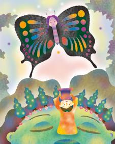 鼻先を飛ぶ蝶