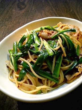 にんにくニラ豚スパゲッティ1