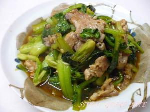 小松菜と豚肉のニンニク炒め