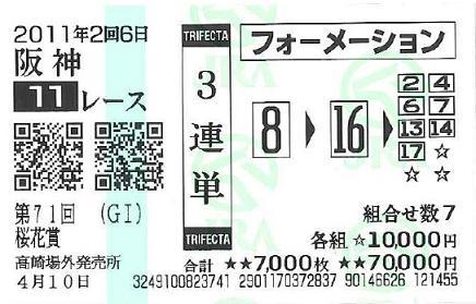 桜花賞3連単