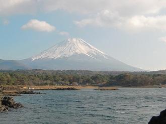 本栖湖の畔から富士山*