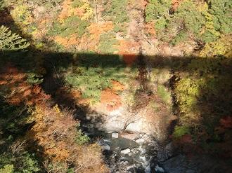 渓谷と汽車の影