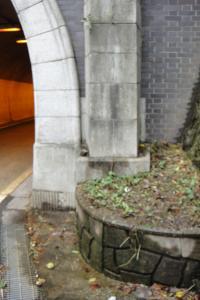 隧道脇に湧水