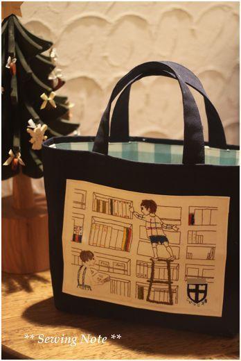 刺繍のバッグ。