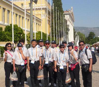 開会式直前の陸上選手団