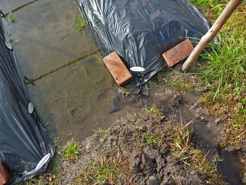 溝をつけて横の水路に排水し