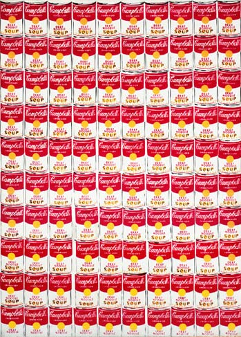 a hundred soup cans