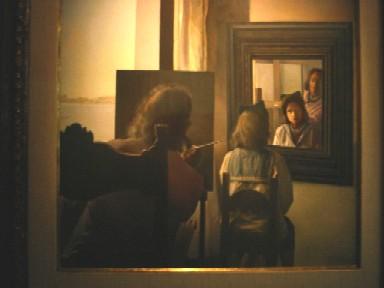 ガラを描くダリの絵画