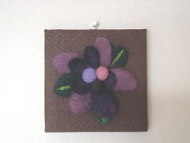 羊毛フェルト花の額
