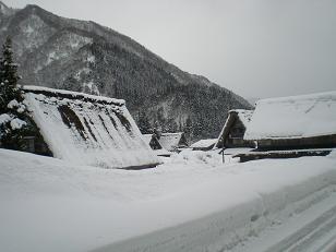 雪に埋もれたような菅沼合掌集落