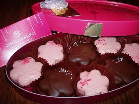 お花クッキーのチョコ