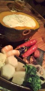 かぼちゃの馬車のチーズフォンデュ