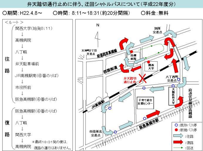 弁天シャトルバス経路図