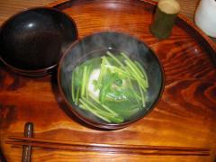 壬生菜とお餅のお吸い物