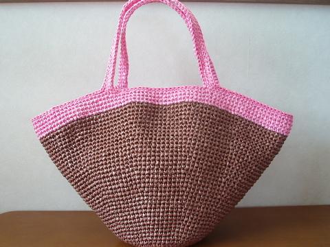 マルシェバッグ 茶+ピンク