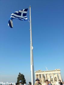 ギリシャ アテネ パルテノン神殿 国旗