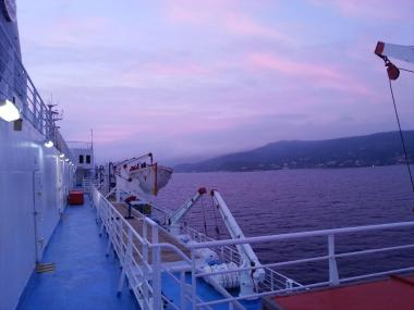 ギリシャ サモス島 朝焼け