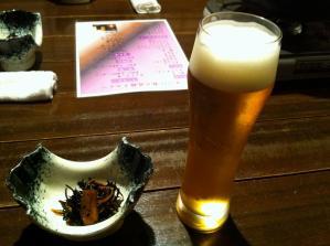 桜桃の花 ビールと小鉢