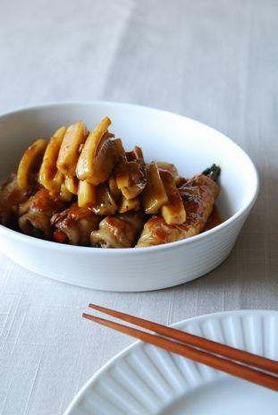豚肉の野菜巻きと蓮根の照り焼き1