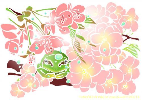 桜とアマガエル01