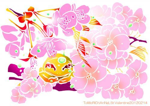 桜とアマガエル02