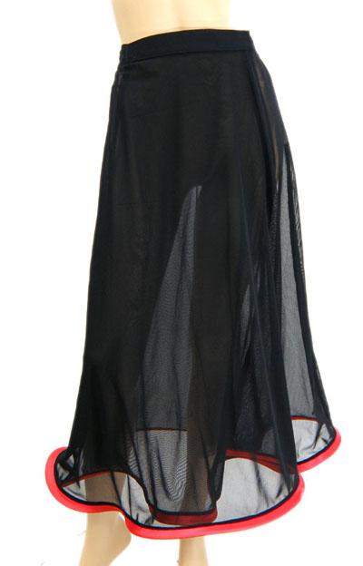 裾配色パイピングメッシュスカート