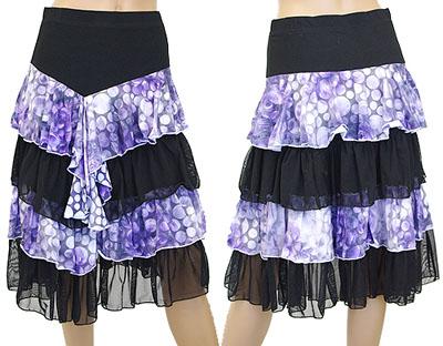 バブル柄4段ティアードスカート