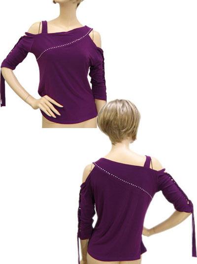袖編みこみ肩出しデザイントップス1