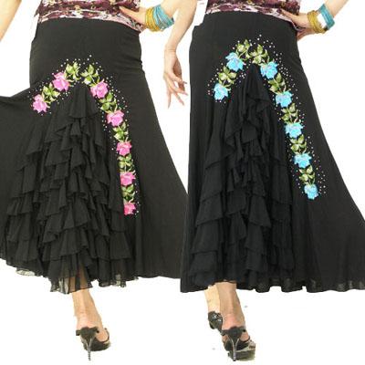マーメイド薔薇刺繍入りスカート